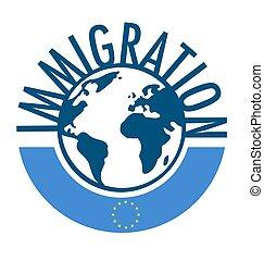 γενική ιδέα , λέξη , τριγύρω , μετανάστευση , σημαία , κόσμοs , ευρωπαϊκός