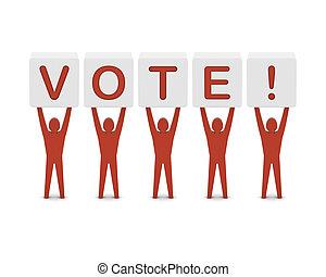γενική ιδέα , λέξη , illustration., άντρεs , κράτημα , vote., 3d
