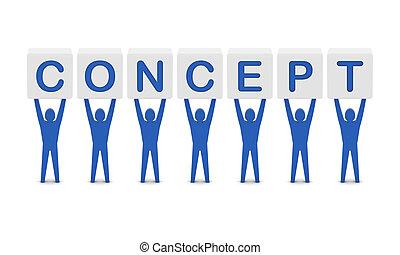 γενική ιδέα , λέξη , illustration., concept., άντρεs , κράτημα , 3d