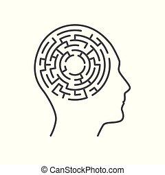 γενική ιδέα , λαβύρινθος , εσωτερικός , ανθρώπινος , ανάμνηση , λαβύρινθος , κεφάλι