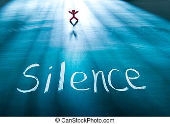 γενική ιδέα , μαυροπίνακας , σχετικός με την σύλληψη ή αντίληψη , λέξη , σιωπή