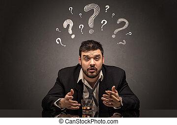 γενική ιδέα , μεθυσμένος , ερώτηση , αναχωρώ , απογοητευμένος , άντραs