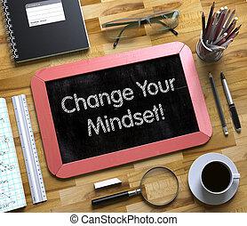 γενική ιδέα , μικρό , chalkboard., 3d., δικό σου , αλλαγή , mindset