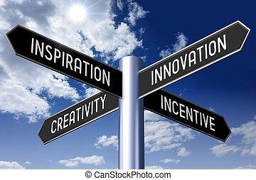 γενική ιδέα , οδοδείκτης , - , βέλος , τέσσερα , καινοτομία