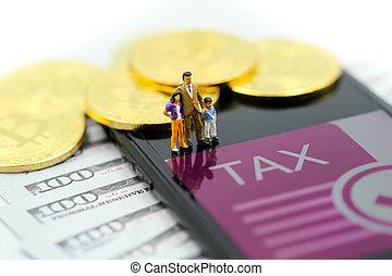 γενική ιδέα , οικογένεια , άνθρωποι , χρήματα , δολλάρια , μινιατούρα , φορολογώ , crypto, bitcoin, χαρτονομίσματα , :, ψηφιακός , μήνυμα , νόμοs
