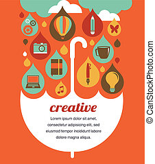 γενική ιδέα , ομπρέλα , - , ιδέα , δημιουργικός , σχεδιάζω