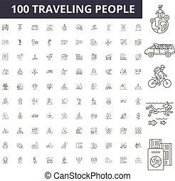 γενική ιδέα , περίγραμμα , άνθρωποι , θέτω , απεικόνιση , εικόνα , μικροβιοφορέας , οδοιπορικός , γραμμή , αναχωρώ