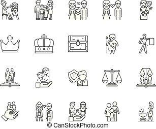 γενική ιδέα , περίγραμμα , οικογένεια , θέτω , απεικόνιση , εικόνα , μικροβιοφορέας , γραμμή , αναχωρώ , ιστορία
