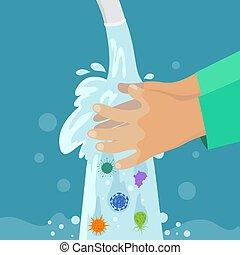 γενική ιδέα , πλύση , bacterias, προστασία , χωρίs , αναπτύσσομαι , handwashing , χέρι , ιόs , μικροβιοφορέας , childrens , καθαρός , κάτω από , παιδί , hands., faucet.