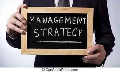 γενική ιδέα , σήμα , μαυροπίνακας , στρατηγική , γραμμένος , διεύθυνση , κράτημα , επιχειρηματίας