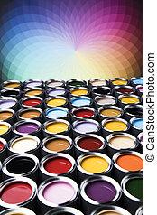 γενική ιδέα , σύνολο , χρώμα , δημιουργικότητα , μέταλλο , απεικονίζω γανώνω , cans