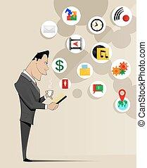 γενική ιδέα , τηλέφωνο , κινητός , νέος , e-commerce , κράτημα , επιχειρηματίας , αναπαριστάνω