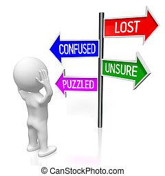 γενική ιδέα , illustration/, αόρ. του lose , βέλος , - , τέσσερα , απόδοση , οδοδείκτης , 3d