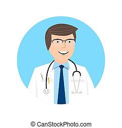 γενική ιδέα , illustration., γιατρός , - , χαρακτήρας , μικροβιοφορέας , healthcare , εικόνα , κομψός , design.