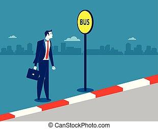 γενική ιδέα , illustration., επιχείρηση , λεωφορείο , μικροβιοφορέας , stop., επιχειρηματίας , transportation.