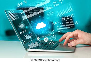 γενική ιδέα , laptop , uploading , αναγγέλλω , χέρι , γραφική παράσταση , χρησιμοποιώνταs