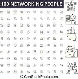 γενική ιδέα , networking , περίγραμμα , άνθρωποι , θέτω , απεικόνιση , εικόνα , μικροβιοφορέας , γραμμή , αναχωρώ