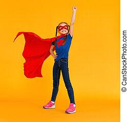 γενική ιδέα , superhero , κίτρινο , κοστούμι , φόντο , παιδί