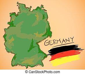 γερμανία , χάρτηs , και , εθνική σημαία , μικροβιοφορέας