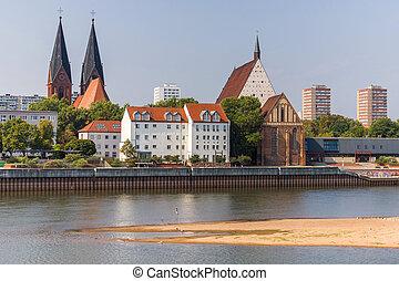 γερμανίδα , πόλη , σύνορο , frankfurt , oder