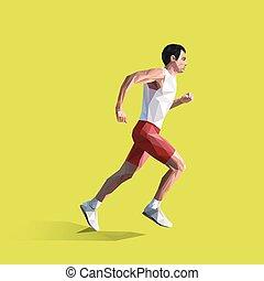 γεωμετρικός , εικόνα , man., μικροβιοφορέας , τρέξιμο , polygonal