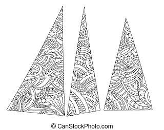 γεωμετρικός , ζεν , έκθεση , τριγωνικό σήμαντρο , τρία