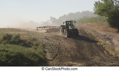 γεωργόs , χρησιμοποιώνταs , μοντέρνος , αγρόκτημα ατμομηχανή...