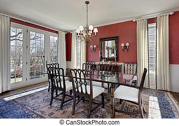 γεύμα , εξωτερικός τοίχος οικοδομής , δωμάτιο , κόκκινο