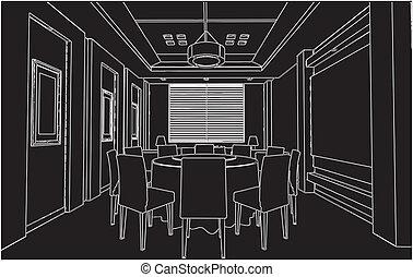 γεύμα , μοντέρνος δωμάτιο
