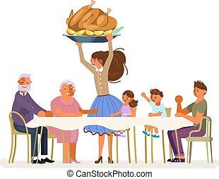 γεύμα , οικογένεια , έκφραση ευχαριστίων