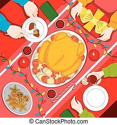 γεύμα , xριστούγεννα , οικογένεια