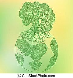 γη , δέντρο , οικολογία , γενική ιδέα , illustration., αποταμιεύω , πλανήτης γαία , μικροβιοφορέας , illustration.