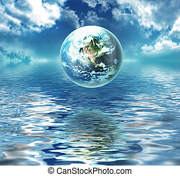 γη , επάνω , ο , νερό