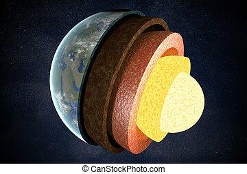 γη , επίστρωση , και , structure., 3d , αμολλάω κάβο , illustration.