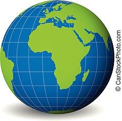 γη , μικροβιοφορέας , ανώτατος , σφαίρα , κόσμοs , αχανής έκταση , μπλε , λεπτός , αφρική. , άσπρο , ακριβής , parallels., ωκεανοί , χάρτηs , εικόνα , πράσινο , 3d
