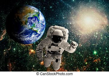 γη , μύγες , αστροναύτης , πάνω , space.