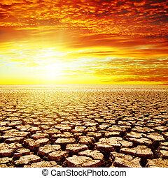 γη , πάνω , ηλιοβασίλεμα , ξηρασία , κόκκινο