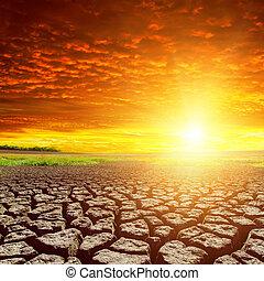 γη , ραγισμένος , ηλιοβασίλεμα , κόκκινο