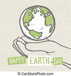 γη , σύμβολο , μικροβιοφορέας , hands.