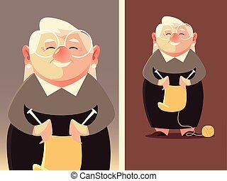 γιαγιά , μαλλί , ακίδα , γυναίκα , αρχαιότερος , χαριτωμένος , πλέξιμο