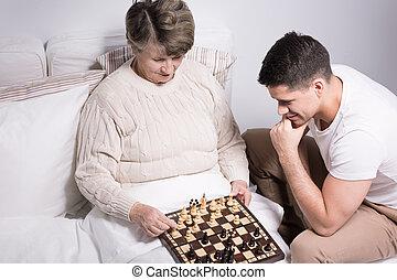 γιαγιά , παίξιμο , άντραs