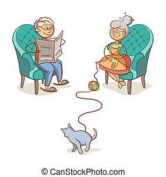 γιαγιά , παππούs , γάτα