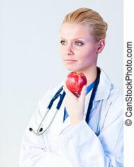 γιατρός , αμπάρι ένα μήλο , με , εστία , επάνω , πρόσωπο
