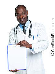 γιατρός , διάστημα , ανδρικός ανώριμος , εκδήλωση , χαμογελαστά , clipboard , αντίγραφο