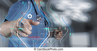 γιατρός , εργαζόμενος , μοντέρνος , επεμβαίνω , ηλεκτρονικός υπολογιστής , ιατρικός , χέρι , φάρμακο , γενική ιδέα