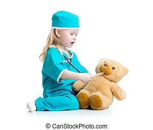 γιατρός , παίξιμο , λατρευτός , παιχνίδι , παιδί , ντύθηκα
