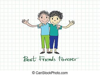 για πάντα , φιλία , ιδέα , σχεδιάζω , φίλοι , ημέρα , καλύτερος , ευτυχισμένος