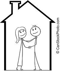 για , σπίτι , ζευγάρι , νέος , καινούργιος , ονειρεύομαι , σπίτι , γελοιογραφία