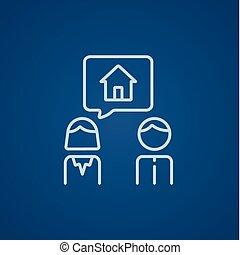 για , σπίτι , ζευγάρι , ονειρεύομαι , γραμμή , icon.