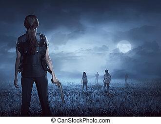 γιλέκο , γυναίκα , γενναίος , βρίσκω , zombies